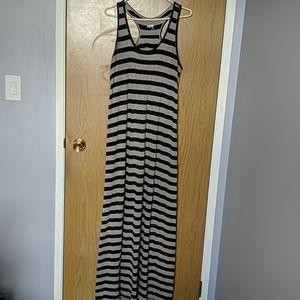Black & Grey Striped Kavu Maxi Dress
